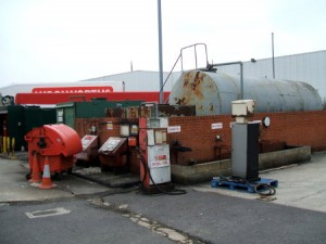 A disused filling station.