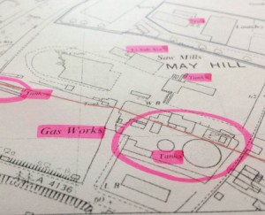Historical mapping of a former gasworks.
