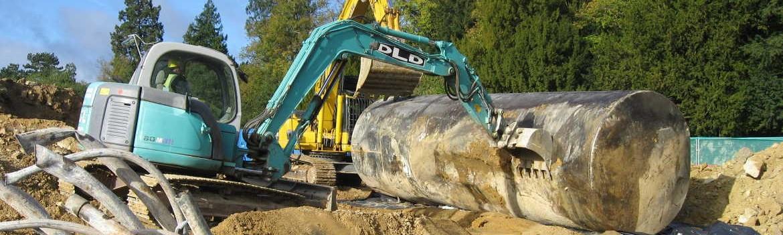 Excavation of underground petrol tanks.